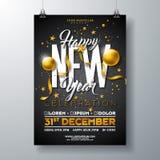 Guten Rutsch ins Neue Jahr-Partei-Feier-Plakat-Schablonen-Illustration mit Goldglaskugel und Typografie-Entwurf auf Schwarzem lizenzfreie abbildung