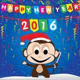 Guten Rutsch ins Neue Jahr-Partei-Karte 2016 und Affe auf blauem Hintergrund Stockfotografie
