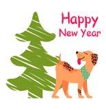 Guten Rutsch ins Neue Jahr-Plakat mit Weihnachtsbaum und Hund Stockfoto