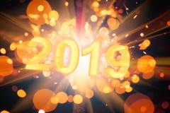 Guten Rutsch ins Neue Jahr-Postkarte 2019 lizenzfreie stockfotos