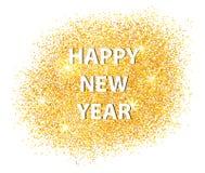 Guten Rutsch ins Neue Jahr-Postkarte 2017 auf weißem Hintergrund Zerstreutes Gold vektor abbildung