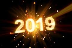 Guten Rutsch ins Neue Jahr-Postkarte 2019 mit glänzender Wunderkerze stockbilder