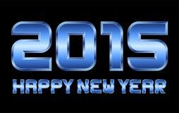 Guten Rutsch ins Neue Jahr 2015 - rechteckige abgeschrägte blaue Metallbuchstaben vektor abbildung