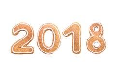 Guten Rutsch ins Neue Jahr ` s Satz Zahlen von den Ingwerkeksen Lizenzfreies Stockfoto