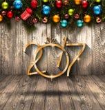 2017-guten Rutsch ins Neue Jahr-Saisonhintergrund mit Weihnachtsflitter Lizenzfreies Stockfoto