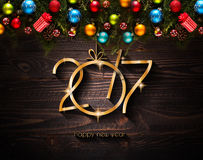2017-guten Rutsch ins Neue Jahr-Saisonhintergrund mit Weihnachtsflitter Stockfotografie