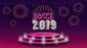 2019-guten Rutsch ins Neue Jahr-Schablone mit kreativem Hintergrundentwurf für Ihre Grußkarte, Einladung, Plakate, Broschüre, Fah vektor abbildung
