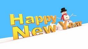 Guten Rutsch ins Neue Jahr-Schneemann auf Winter Stockbild