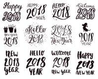 2018-guten Rutsch ins Neue Jahr-schwarzes Textlogo für Illustration des Feiertagskalenderdruck-Designs oder neugeborene jährliche Lizenzfreie Stockfotos