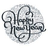 Guten Rutsch ins Neue Jahr-Schwarzweiss-Beschriftung Lizenzfreie Abbildung