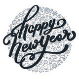 Guten Rutsch ins Neue Jahr-Schwarzweiss-Beschriftung Stockfotos