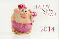 Guten Rutsch ins Neue Jahr-Schwein 2014 Lizenzfreies Stockfoto