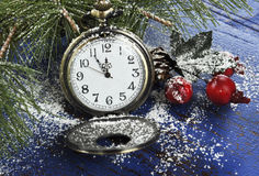 Guten Rutsch ins Neue Jahr-Taschentaschenuhr Stockbild