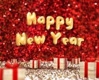 Guten Rutsch ins Neue Jahr (Text der Wiedergabe 3D) schwimmend über hölzernen Präsentkarton Stockfotos