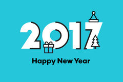 Guten Rutsch ins Neue Jahr 2017 Text-Design Flache Vektorillustration Lizenzfreie Stockbilder