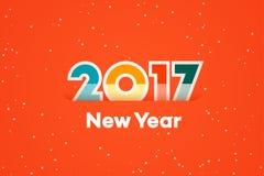 Guten Rutsch ins Neue Jahr 2017 Text-Design Flache Vektorillustration Lizenzfreies Stockbild