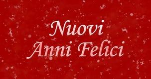 Guten Rutsch ins Neue Jahr-Text in Italiener Nuovi-anni felici auf rotem backgr Lizenzfreies Stockfoto