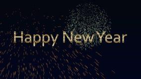 Guten Rutsch ins Neue Jahr-Text, lebhafte Flasche und Feuerwerke stock video