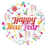 Guten Rutsch ins Neue Jahr-Text mit Partei-Ikonen Stockbild