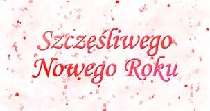 Guten Rutsch ins Neue Jahr-Text in polnischem Szczesliwego Nowego Roku auf Whit Stockbild