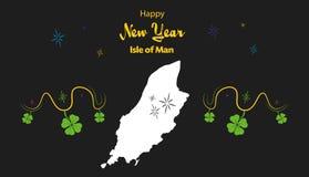 Guten Rutsch ins Neue Jahr-Thema mit Karte von Isle of Man Lizenzfreies Stockbild