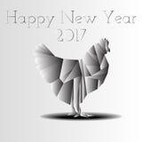 2017 guten Rutsch ins Neue Jahr-Tierkreis-Huhn Stockbild