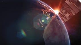 Guten Rutsch ins Neue Jahr-Titel - die Erde vom Raum, der allen sie Schönheit zeigt stock abbildung