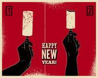 Guten Rutsch ins Neue Jahr! Typografisches Schmutzweinlese Weihnachtskartendesign mit lustiger Anweisung der Eiscreme Hand hält E Stockbilder