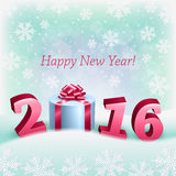 Guten Rutsch ins Neue Jahr und eine Geschenkbox Lizenzfreies Stockfoto