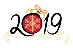 Guten Rutsch ins Neue Jahr und frohe Weihnachten 2019 lizenzfreie abbildung