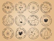 Guten Rutsch ins Neue Jahr und frohe Weihnachten - Schmutzvektor-Briefmarken vektor abbildung