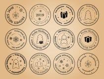 Guten Rutsch ins Neue Jahr und frohe Weihnachten - VektorBriefmarken mit Schneeflocken auf Deutschem lizenzfreie abbildung