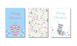Guten Rutsch ins Neue Jahr und nahtlose Muster- und Grußkarte der frohen Weihnachten, Hintergrund, Packpapier Lizenzfreie Abbildung