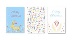 Guten Rutsch ins Neue Jahr und nahtlose Muster- und Grußkarte der frohen Weihnachten, Hintergrund, Packpapier Vektor Abbildung