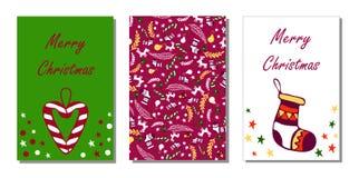 Guten Rutsch ins Neue Jahr und nahtlose Muster- und Grußkarte der frohen Weihnachten, Hintergrund, Packpapier Stock Abbildung