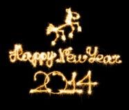 Guten Rutsch ins Neue Jahr - 2014 und Pferd machten eine Wunderkerze Lizenzfreies Stockbild