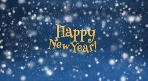Guten Rutsch ins Neue Jahr und Schnee auf Blau Stockfotos