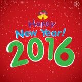 Guten Rutsch ins Neue Jahr 2016 und weißer Schnee im Winter Weihnachtsbaum und Glocke auf rotem Hintergrund Lizenzfreie Stockfotos