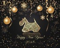 Guten Rutsch ins Neue Jahr- und Weihnachtsgrußkarte stock abbildung