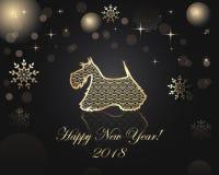 Guten Rutsch ins Neue Jahr- und Weihnachtsgrußkarte lizenzfreie abbildung