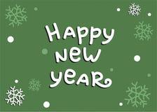 Guten Rutsch ins Neue Jahr-Vektor-Grünhintergrund bereit, im Plakat, in der E-Mail oder in der Anzeige verwendet zu werden lizenzfreie abbildung