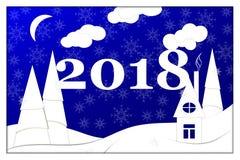 Guten Rutsch ins Neue Jahr, 2018, Vektorillustration der frohen Weihnachten Stockfotos