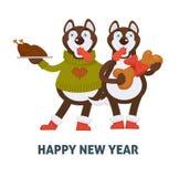 Guten Rutsch ins Neue Jahr 2018 verfolgt Karikatur mit Weihnachtslebkuchenplätzchenvektor-Grußkartenikone Stockfotografie