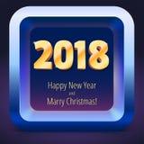Guten Rutsch ins Neue Jahr 2018 Volumetrische Zahlen vom Gold Fahne mit Text Goldenes Funkeln, glänzender Text glückliches neues  Lizenzfreie Stockfotos