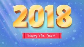 Guten Rutsch ins Neue Jahr 2018 Volumetrische Zahlen vom Gold Rote Fahne mit Text Glückwunschplakat auf Schneehintergrund Lizenzfreie Stockfotografie