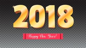 Guten Rutsch ins Neue Jahr 2018 Volumetrische Zahlen vom Gold Rote Fahne mit Text Glückwunschplakat auf transparentem Hintergrund Lizenzfreies Stockbild