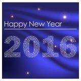 Guten Rutsch ins Neue Jahr 2016 vom blauen Hintergrund eps10 der kleinen Schneeflocken Stockfotografie