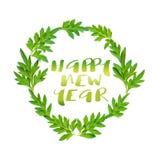 Guten Rutsch ins Neue Jahr-Wörter und frische grüne Blätter im Kreis auf weißem b Stockbilder