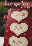 Guten Rutsch ins Neue Jahr wünscht mit Mitteilung des Friedens, der Freude und der Hoffnung Lizenzfreies Stockbild