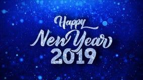 Guten Rutsch ins Neue Jahr 2019 wünscht Partikel-Grüße, Einladung, Feier-Hintergrund stock footage